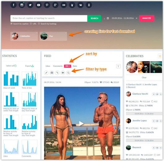 Viewing statistics on instagram accounts and search most popular