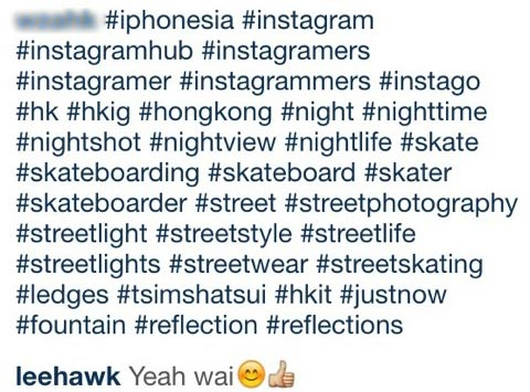 Too many Instagram hashtags