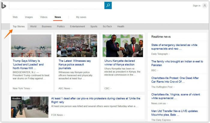 Using Bing news for searching viral articles