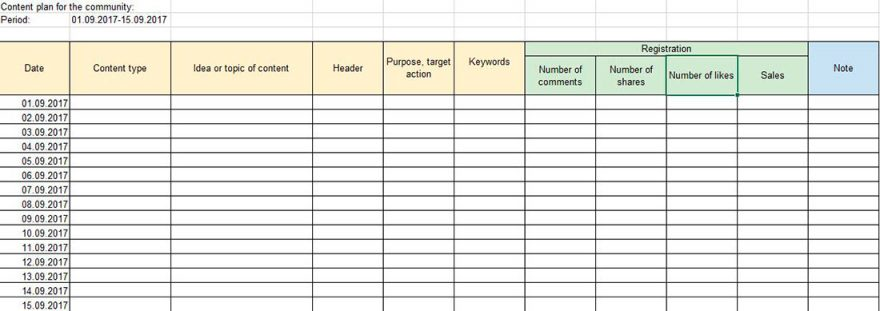 Favorite template for creating a content plan in smm