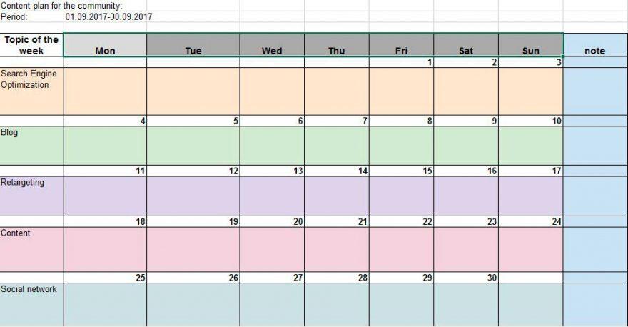 Minimum template for creating content calendar