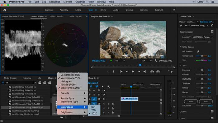 Adobe Premiere Pro menu