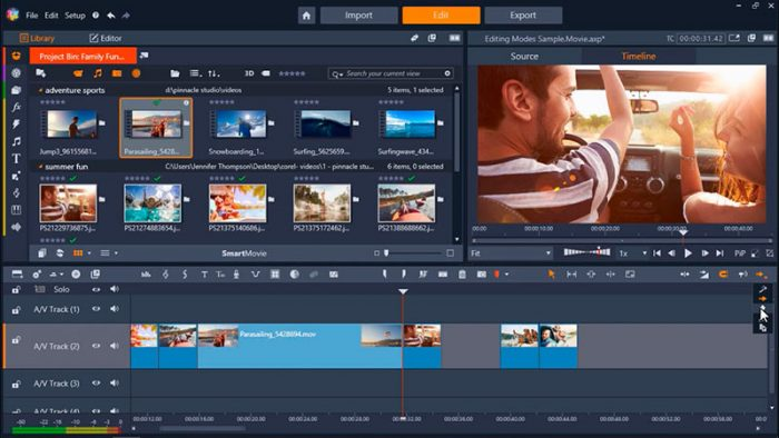 Pinnacle Studio video editor menu