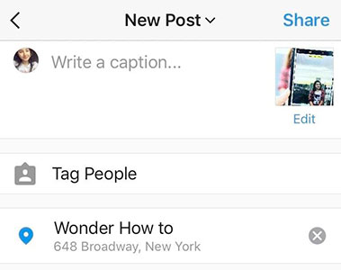 Setting up geolocation for Instagram post