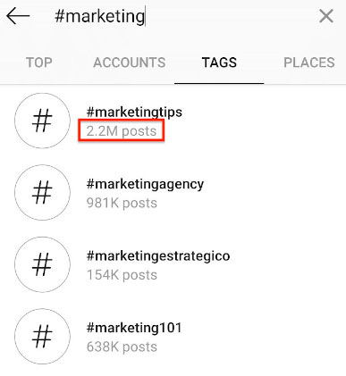 Choosing hashtags for Instagram